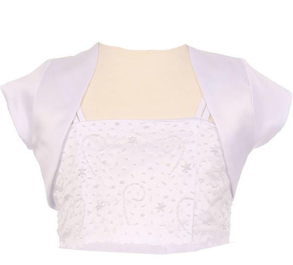 Satin Short Cover Shoulder Bolero Big Girl Special Occasion Bolero (35KD5) White 8