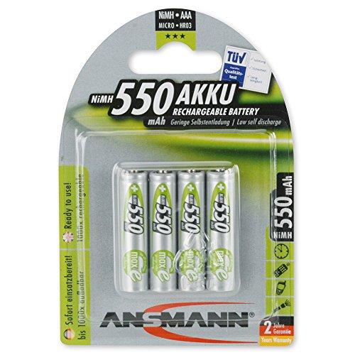 ANSMANN maxE Micro AAA Akku 550mAh geringe Selbstentladung vorgeladene Power Akkubatterie (4er-Pack)