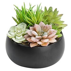 MyGift Faux Succulent Plant Arrangement in Black Ceramic Planter Bowl 10