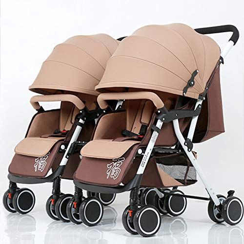 Twins and Twin Strollers- Tandem Double Pushchair from Birth- Reversible Seat Convertible to Carrycot- Lightweight with Convertible Bassinet Stroller,Khaki White Tube
