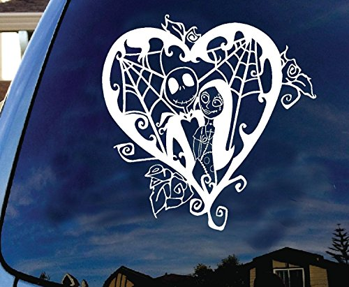 LA DECAL Jack Skellington Sally Valentine Halloween Scary Funny Animation Silhouette Cartoon Character Car Truck Laptop Macbook Window Vinyl Decal Sticker 6 Inches White]()
