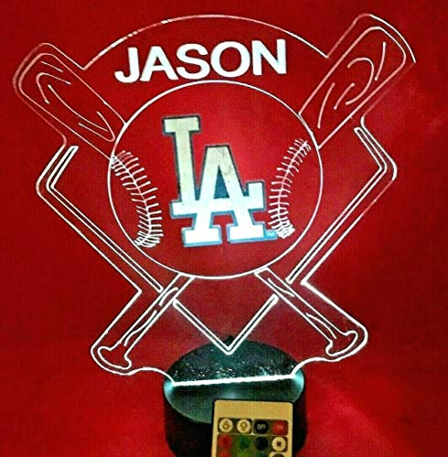 LA Dodgers MLB Light Up Beautiful Handmade Los Angeles Personalized Baseball Light Up Night Lamp LED Lamp Our Newest Feature - It's WOW, With Remote, 16 Color Options, Dimmer Free Engraved, Great Gift