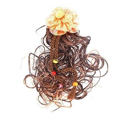 DealMux decoración flor ondulado peluca rizada chicas francesas clip Hairclip Marrón Naranja