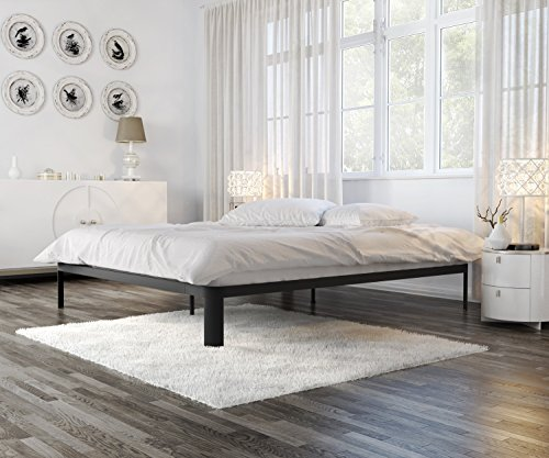 In Style Furnishings Minimalist Bed Frame - Modern Lunar Low Profile Platform Bed with Metal Frame & Strong Slats - Full, Black Loft Style Furniture