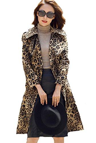 EORISH Women Long Sleeve Lapel Long Overcoat Leopard Print Trench Coat Leopard Trench