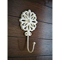 Flower Wall Hook Shabby Cottage Chic Ornate Cast Iron Hanger Coat Key Jewelry Towel Hook Creamy White or Pick Your Color