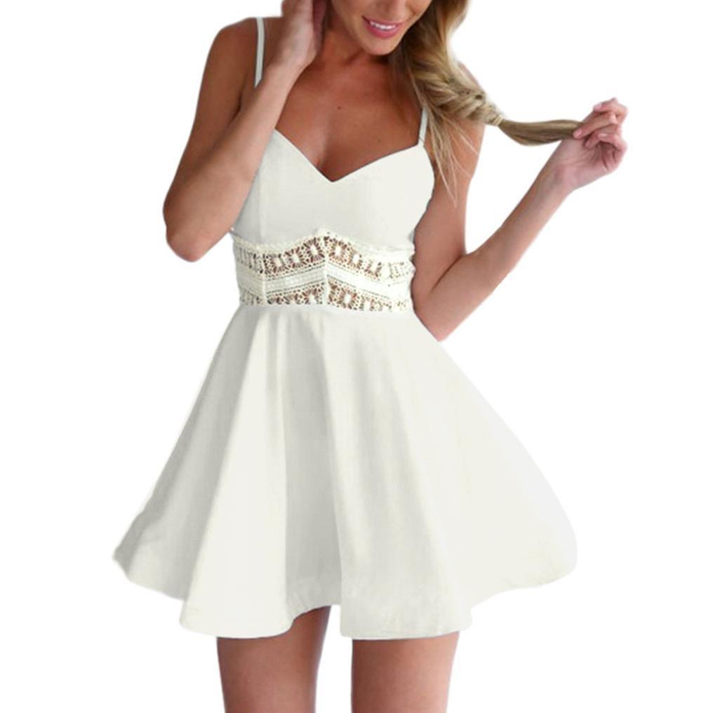 JYC Verano Falda Larga, Vestido Camiseta Encaje, Elegante Casual, Vestido Fiesta Mujer Largo Boda, Mujer Sin Mangas Cordón Cuello en V Sexy Ahuecado Vestir: ...
