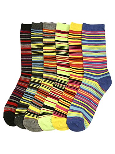 Multicolor Bright Striped Womens 6 Pack Assorted Crew Socks (Carded Assortment)