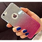 Amozo® Gradient Glitter Skin Soft Silicone Slim Back Cover Case for Apple iPhone 6S & 6, Pink Color