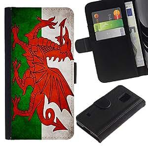 All Phone Most Case / Oferta Especial Cáscara Funda de cuero Monedero Cubierta de proteccion Caso / Wallet Case for Samsung Galaxy S5 V SM-G900 // National Flag Nation Country Welsh