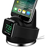 OLEBR Apple Watch Series 3 Stand iPhone X/8/8Plus/7/7Plus/6s/6s Plus Dock, [2 in 1 Charging Dock]Apple Watch Charging Stand, Charger Station for iWatch Series 3/2/1/Nike+,iPhone 5/SE-Black