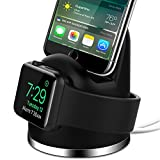 OLEBR Charging Stand for Apple Watch, Airpod iPhone X/8/8Plus/7/7Plus/6s/6s Plus Dock, 2 in 1 Charging Dock for Apple Watch, Charging Station for iWatch Series 3/2/1/Nike+,iPhone-Black