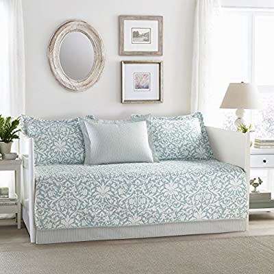 Laura Ashley Saltwater 5-Piece Daybed Cover Set, Twin, Blue
