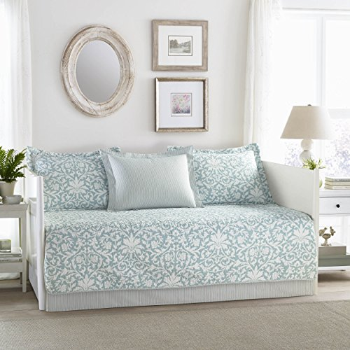 (Laura Ashley Mia 5-Piece Daybed Cover Set Blue)