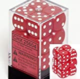 Chessex Dice D6 Sets: Opaque Red with White - 16Mm Six Sided Die (12) Block of Dice