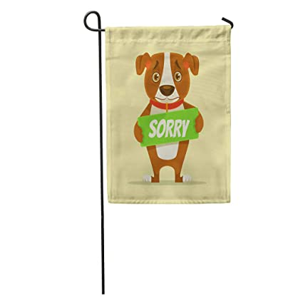 d1d413df903c Amazon.com : Semtomn Garden Flag Oops Sorry Dog Character Hold ...