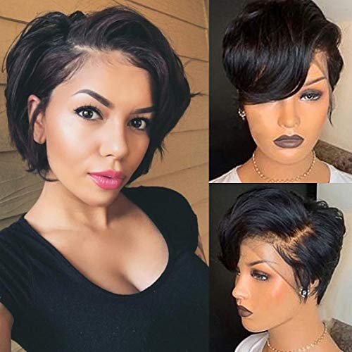 13x4 Lace front Wigs Human Hair Pixie Cut Wigs Short Bob Wigs for Black Women 150% Density Brazilian Virgin Human Hair with Pre Plucked Haircuts Natural Hairline 8inch Natural Black