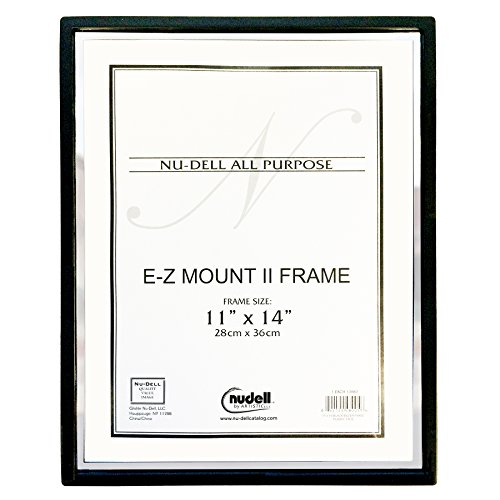Nu-Dell EZ Mount II Document Frame, Plastic, 11 x 14, Black/Silver (13980)