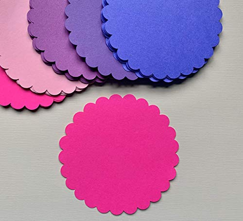 Cut out Scallop Border Circle, Cardstock Flowers, Scallop Edge Round Note cards, Die Cut Flowers, Scallop circle punch, Party Supplies