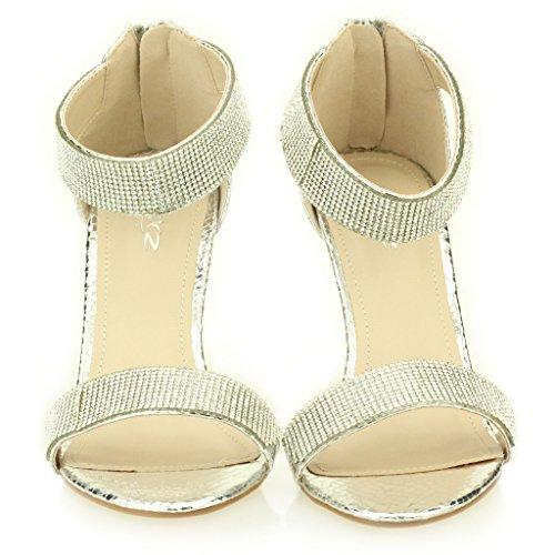 Mujer Señoras noche Boda Party tacón alto Open Toe Diamante Nupcial Sandalia Zapatos Tamaño (Oro, Negro, Champagne, Plata) Plata