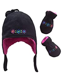 N'Ice Caps Girls Sherpa Lined Flowers Embroidered Micro Fleece Set