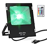 Albrillo 50W Color Changing LED Flood Lights Outdoor RGB Flood Light with Remote Control and US Plug, 16 Colors 4 Modes, Waterproof Landscape Lighting