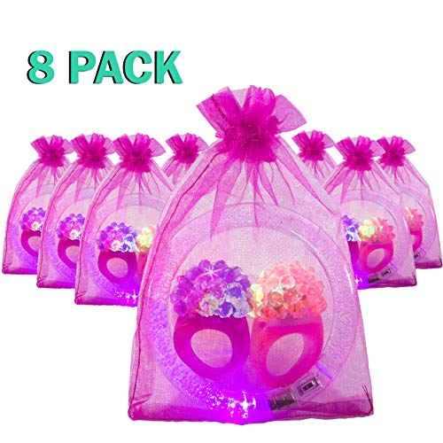 The Noodley's LED Light Up Jewelry Party Favor Pack 8 Filled Organza Bags Containing 24 pcs Flashing Bumpy Rings and Glow Bracelets - Girl Party/Bachelorette Party Goodie Bags