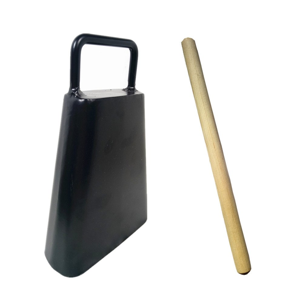 6inch Handled Iron Cowbell Noisemaker Black Finish, Wood Stick by WM
