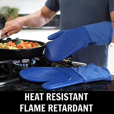 Amazon.com: Guantes de horno de silicona con forro de ...