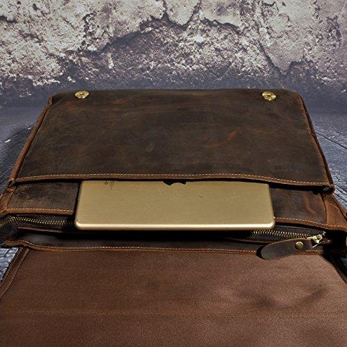 Le'aokuu Hombres Cuero Genuino Cartera Maletin Bolso Piel Alta Calidad de Hombro Universidad (marrón) marrón