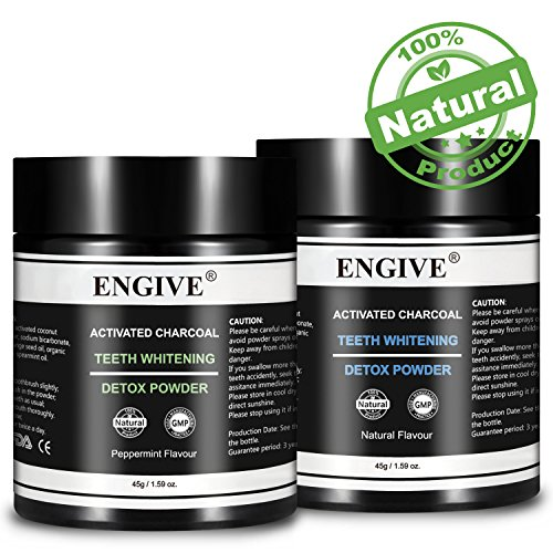 Teeth Whitening Charcoal Powder, 2 Pack, Natural Organic Coconut Activated Charcoal Natural and Peppermint Flavour Set of 2, 45g per Pack