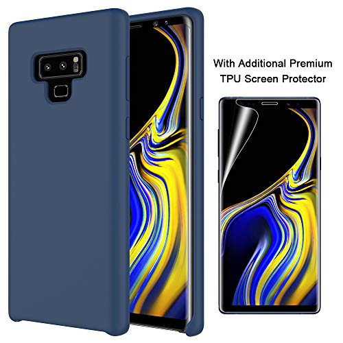 Orzero Liquid Silicone Gel Rubber Case for Samsung Galaxy Note 9 2018 Full Body with Additional Premium TPU Screen Protector Shock Absorbing Ultra Slim Protective [Baby Skin Touch]-Navy