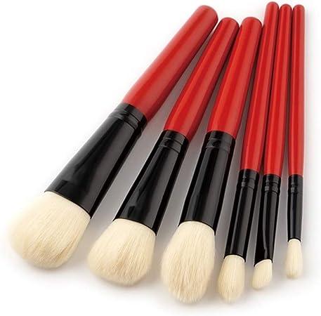 Nikgic - Pinceles de Maquillaje Profesional Set Pelo de Nylon 14.7 * 8 * 1.2cm Mango de Madera Cejas Cepillos del Maquillaje Brocha para Polvos Herramienta de Maquillaje 6 Piezas Rojo: Amazon.es: Hogar