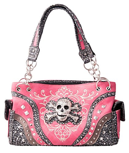 HW Collection Skull Studded Rhinestone Purse Embroidered Concealed Carry Shoulder Bag Handbag (Hot Pink) (Pink Hot Purse Western)