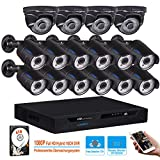 Cheap LONNKY 16CH Full 1080P HD Security Camera System, 5 in 1 DVR Kits with 16PCS 2.0MP Outdoor Indoor Bullet Dome CCTV Cameras, P2P Motion Detection, Email Alarm & Snapshot Pictures with 4TB HDD, Black
