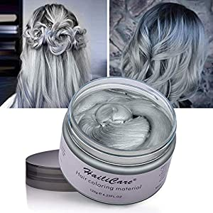 4 Colors Temporary Hair Dye Wax - 4 in 1 Sliver Blue Purple Red - Natural Matte Hairstyle for Party, Cosplay (Color: Blue+Purple+Red+Sliver)