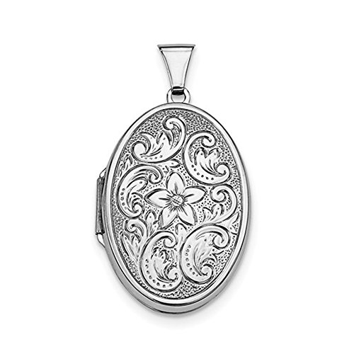 - Sterling Silver Rhodium Plated Etched Oval Locket Pendant, 33mm x 22mm