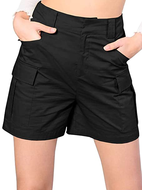 5d66dcdf8e chimikeey Womens Summer Casual High Waisted Cargo Shorts Loose Fit Beach  Shorts with Pockets Black