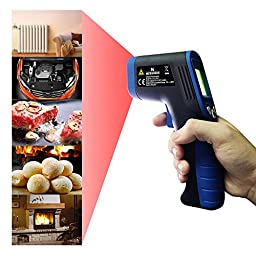 Digital Infrared Thermometer, Easy Lasergrip Non-contact Laser Temperature Gun with Temperature Deviation Function IT06-B3(Blue)