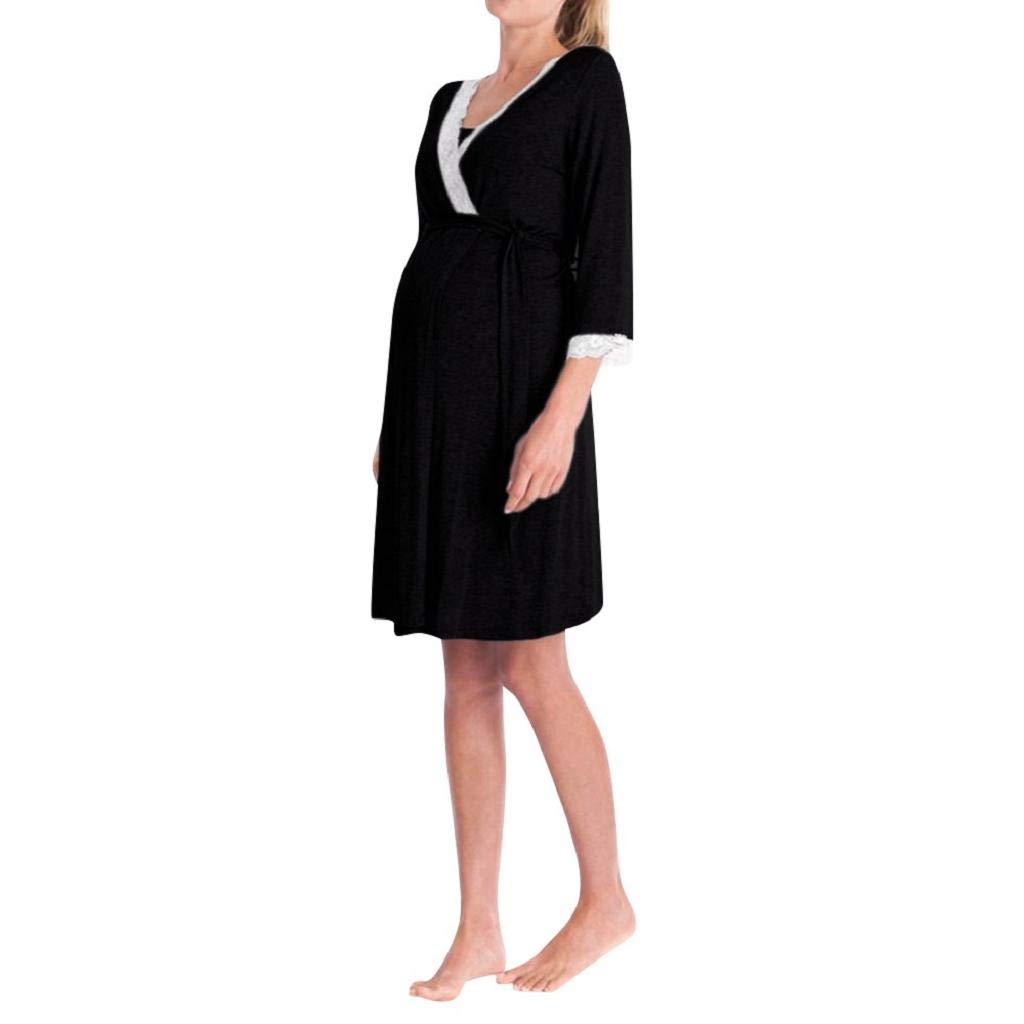 VICGREY ❤ Vestito Premaman da Donna Camicia da Notte per Allattamento Pigiama Camicia da Notte, Donne Madre Pizzo Incinta Abito Casual Infermieristica Vestito, Accappatoi