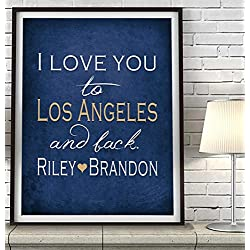 """I Love You to Los Angeles and Back"" California ART PRINT, Customized & Personalized UNFRAMED, Wedding gift, Valentines day gift, Christmas gift, Father's day gift, All Sizes"