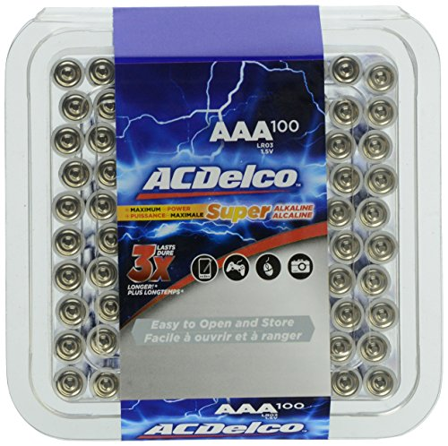 ACDelco AAA Alkaline Batteries in Reclosable Storage Box, 100 Count