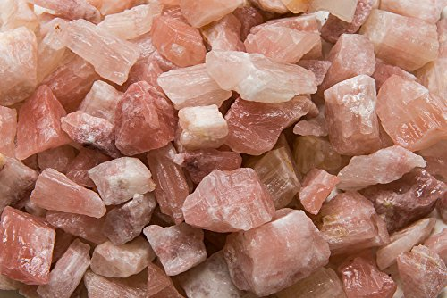 Fantasia Materials: 2 lbs Rare Mangano Pink Calcite Rough Stones from Pakistan - Raw Natural Crystals for Cabbing, Cutting, Tumbling, Polishing, Wire Wrapping, Wicca, Reiki & Crystal Healing