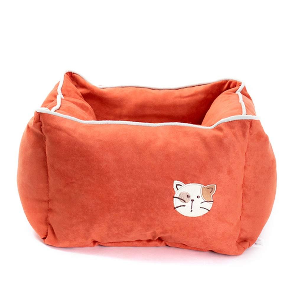 DIAOSI Chongwuwo Square pet nest cat litter kennel deep sleep orange red seasons universal cat litter cat supplies