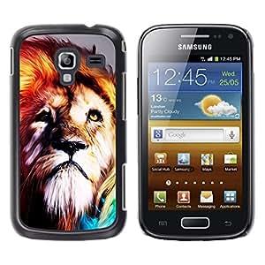 TECHCASE**Cubierta de la caja de protección la piel dura para el ** Samsung Galaxy Ace 2 I8160 Ace II X S7560M ** Lion Fur King Animal Psychedelic Fearless Wild