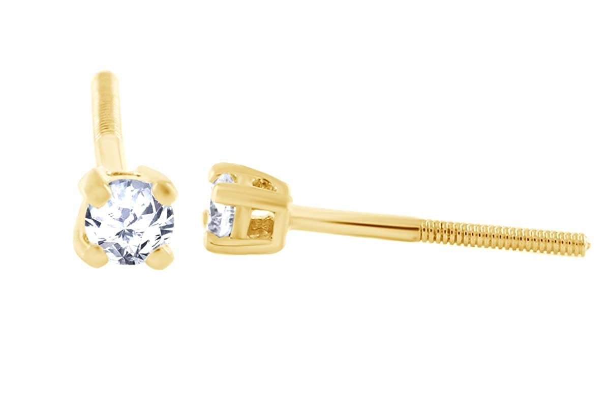 14k Yellow Gold Solitaire Round Cubic Zirconia CZ Stud Earrings in Secure Screw-backs