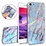 ipod 5 case light blue - IKASEFU iPod Touch 5,iPod Touch 6 Case,Bright laser IMD Marble Pattern Design Soft Slim Shockproof Flexible TPU Silicone Rubber Protector Clear Bumper Case Cover for iPod Touch 5/6,Light blue