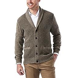 Haggar Men\'s Long Sleeve Shawl Collar Cardigan Sweater, Taupe, XX-Large