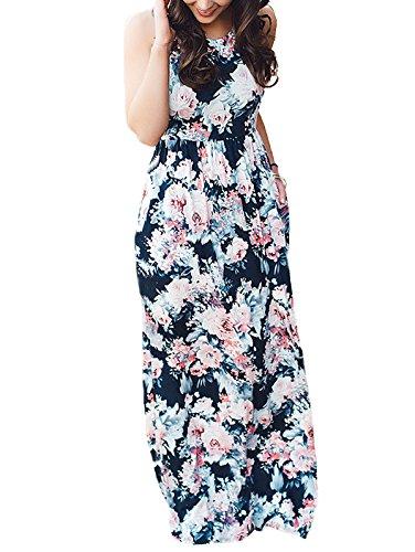SWQZVT Women's Summer Bohemian Floral Dresses Sleeveless Pockets Racerback Scoop Neck Casual Long Maxi Tank Dress Purplish Blue XL