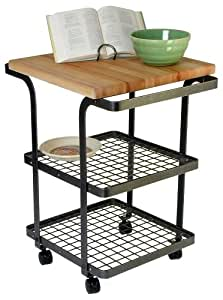 Enclume BC2b Square Baker's Cart Kitchen Furniture, Hammered Steel and Wood